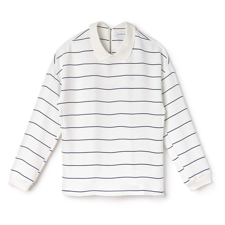 Lacoste Kadın Beyaz Uzun Kollu Sweatshirt