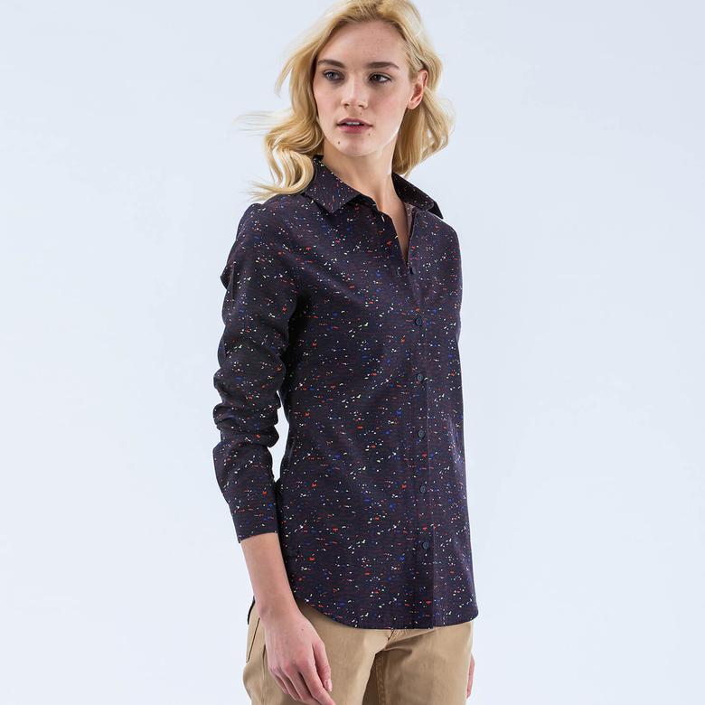 Lacoste Kadın Lacivert Slim Fit Uzun Kollu Gömlek