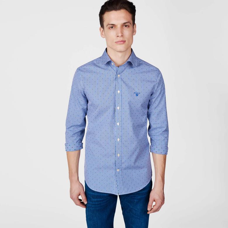 Gant Erkek Lacivert Uzun Kollu Ekstra Slim Fit Gömlek