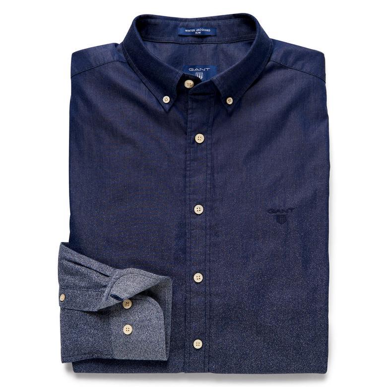 Gant Erkek Uzun Kollu Slim Fit Lacivert  Gömlek