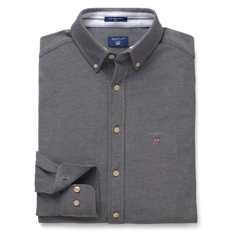 Gant Erkek Gri Uzun Kollu Slim Fit Gömlek