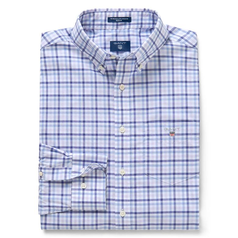 Gant Erkek Mavi Kareli Regular Broadcloth Gömlek