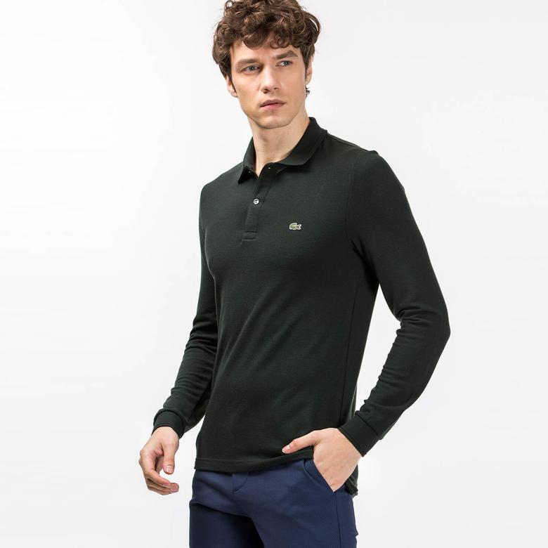 Lacoste Erkek Yeşil Slim Fit Uzun Kollu Polo