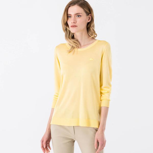 Lacoste Kadın Sarı Regular Fit Triko