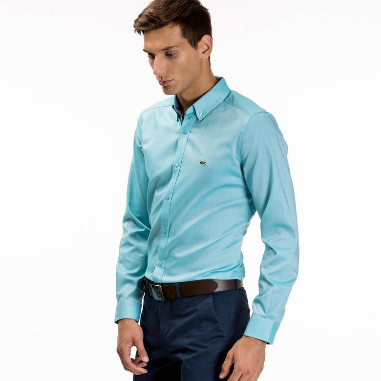 Lacoste Erkek Mavi Slim Fit Uzun Kollu Gömlek