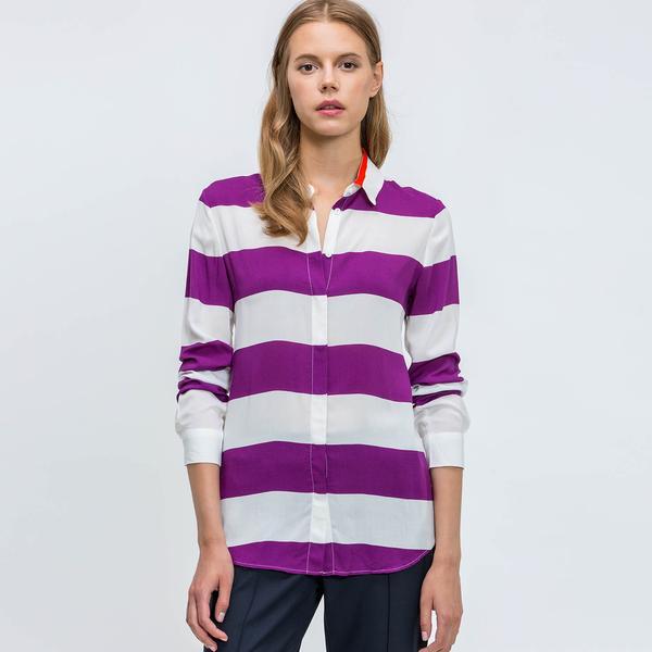 Lacoste Kadın Mor Uzun Kollu Regular Fit Gömlek