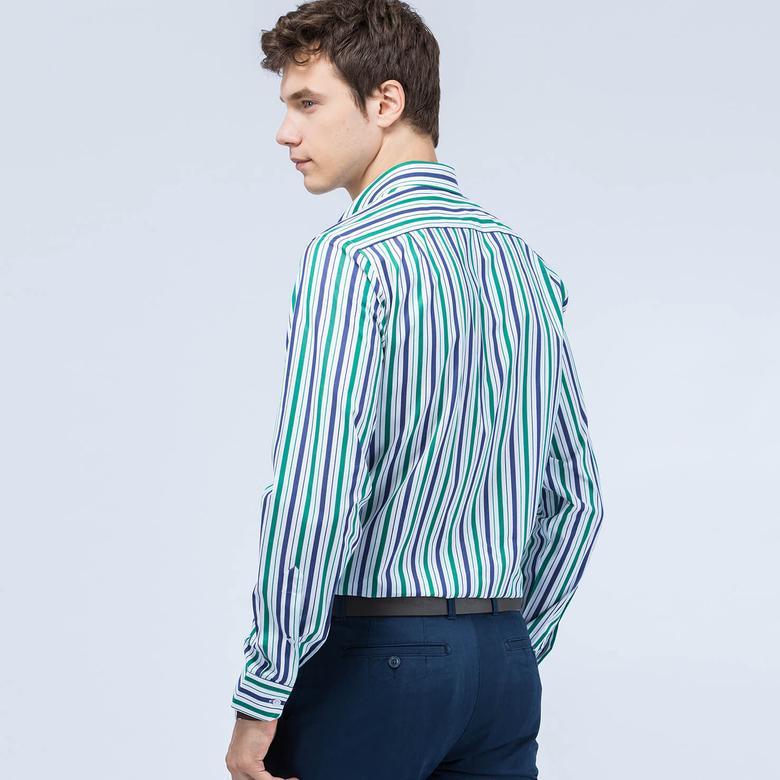 Lacoste Yeşil Çizgili Erkek Gömlek