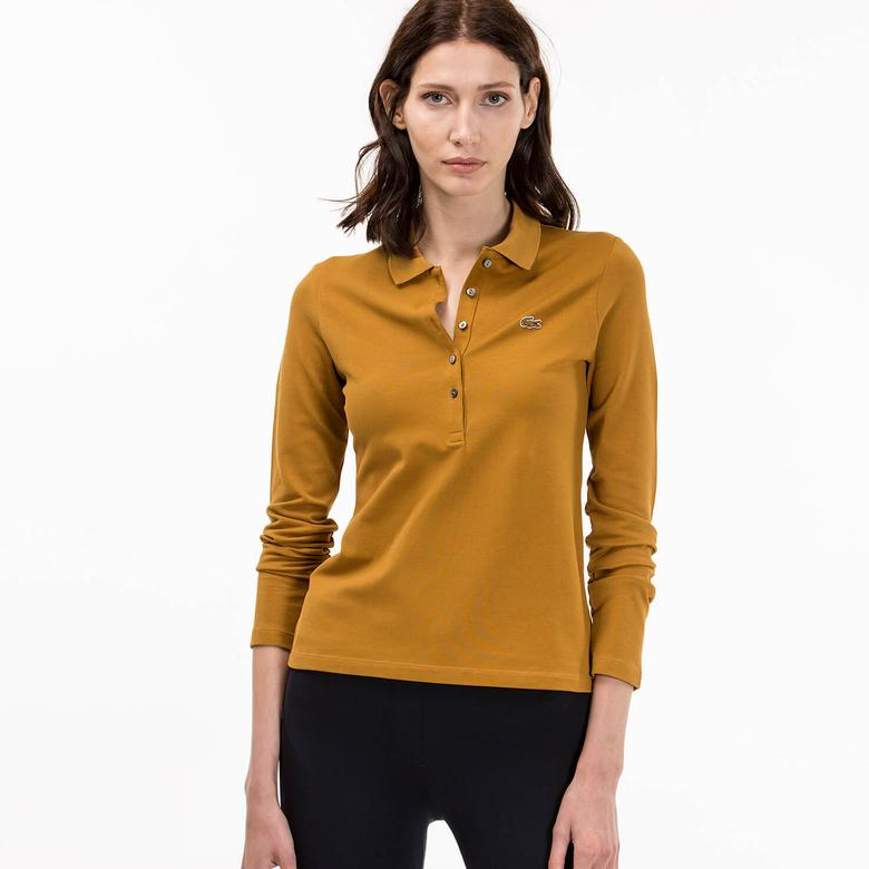 Lacoste Kadın Sarı Slim Fit Uzun Kollu Polo