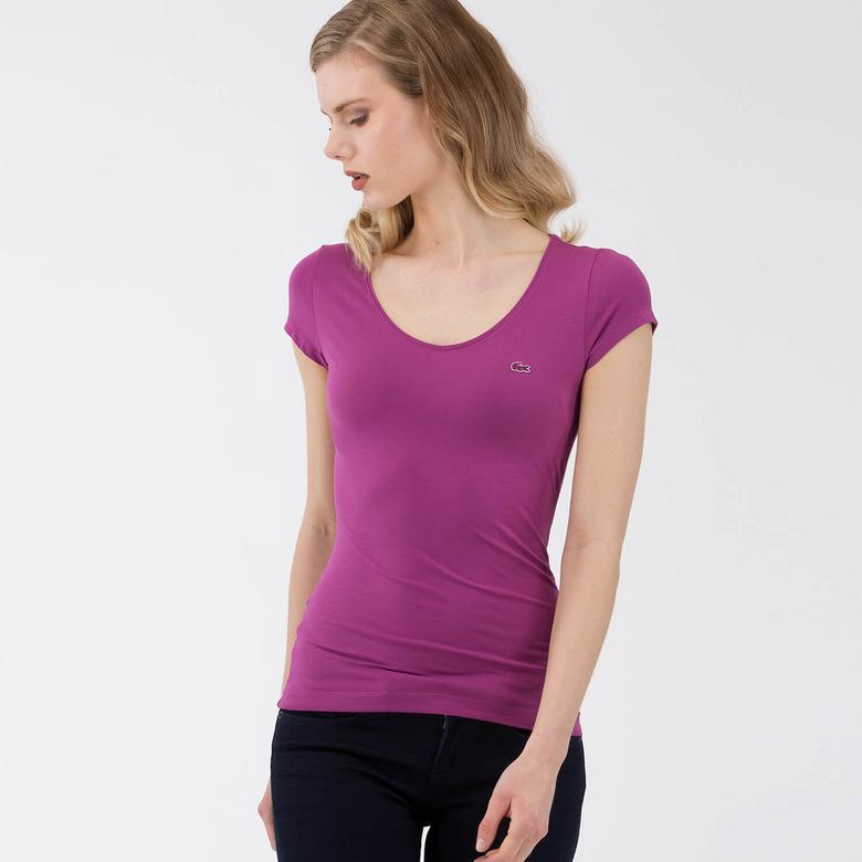 Lacoste Kadın Mor T-Shirt