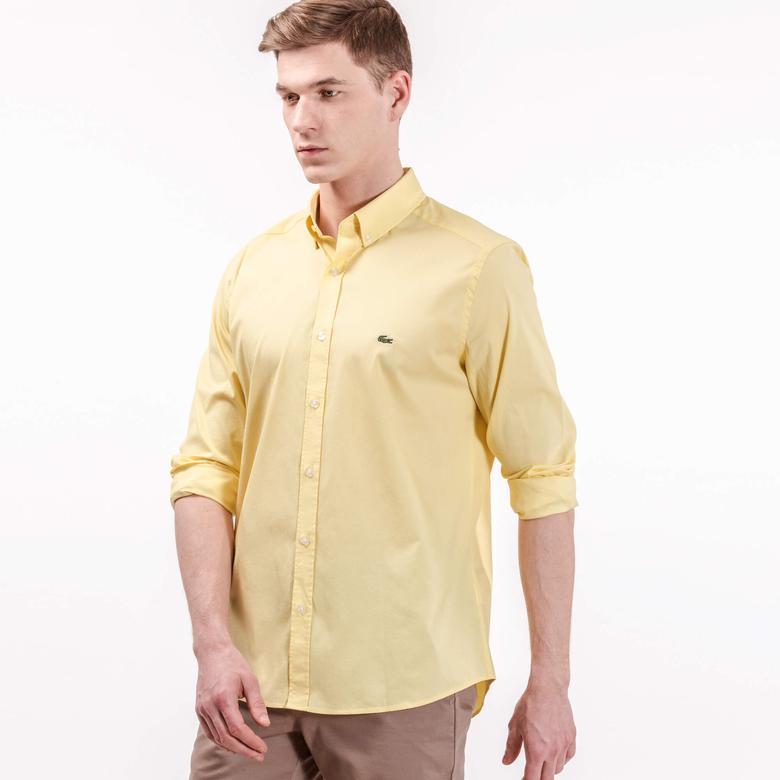 Lacoste Erkek Sarı Uzun Kollu Slim Fit Gömlek
