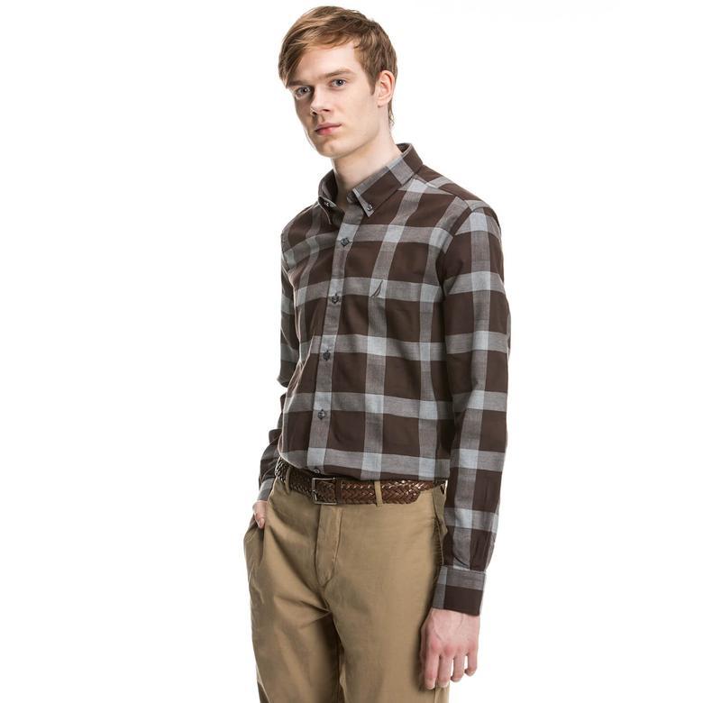 Nautica Erkek Kahverengi Uzun Kollu Slim Fit Gömlek
