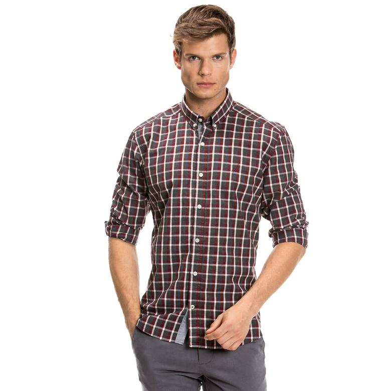 Nautica Erkek Gri Kareli Uzun Kollu Slim Fit Gömlek
