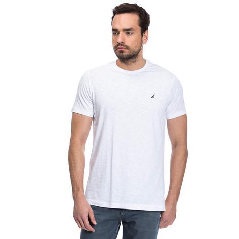 Nautica Erkek Beyaz Kısa Kollu Bisiklet Yaka Flamlı Slim Fit T-Shirt