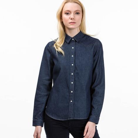 Lacoste Kadın Uzun Kollu Denim Lacivert Gömlek