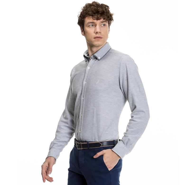 Nautica Uzun Kollu Erkek Gri Slim Fit Gömlek