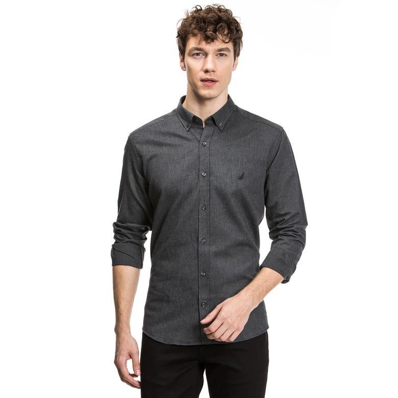 Nautica Erkek Siyah Uzun Kollu Slim Fit Gömlek