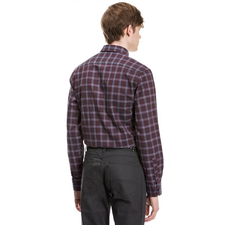 Nautica Erkek Bordo Uzun Kollu Slim Fit Gömlek