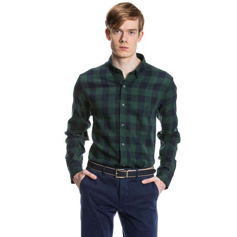 Nautica Erkek Yeşil Uzun Kollu Regular Fit Gömlek