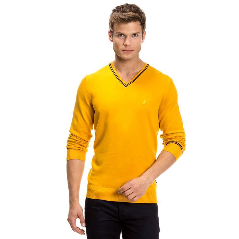 Nautica Erkek Sarı Regular Fit Triko