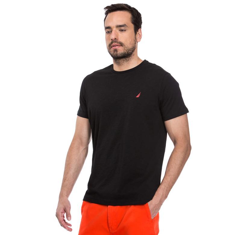 Nautica Erkek Siyah Kısa Kollu Bisiklet Yaka Flamlı Slim Fit T-Shirt