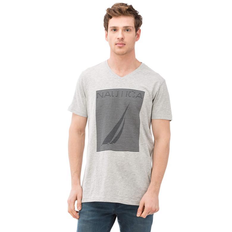 Nautica Erkek Gri Slim Fit T-Shirt
