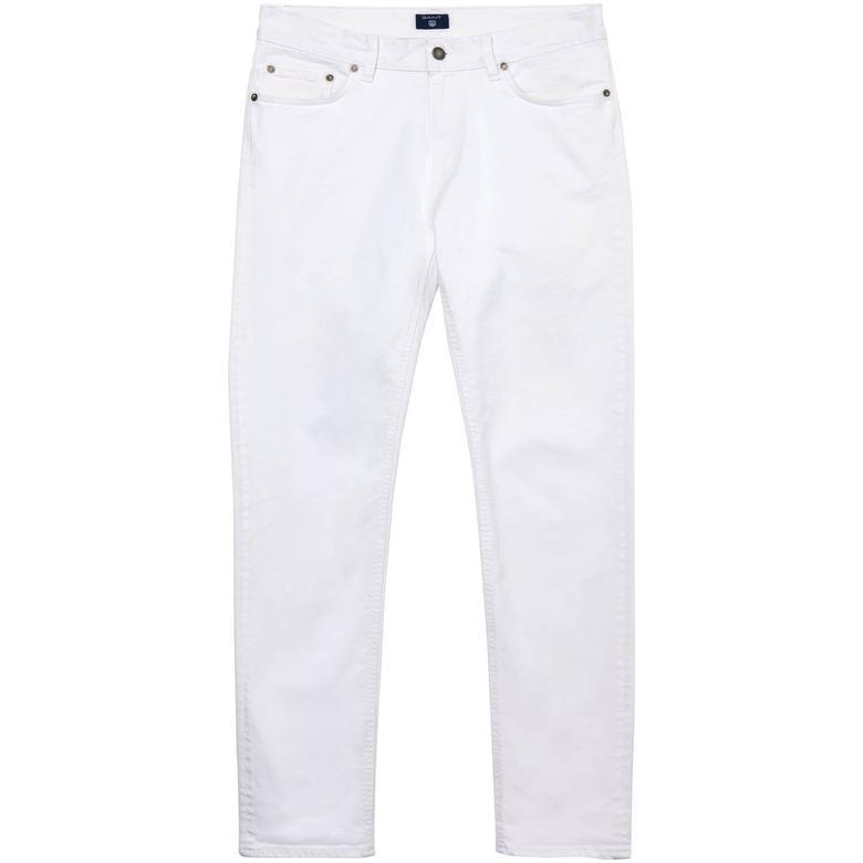 Gant Erkek Beyaz Slim Straight Pantolon