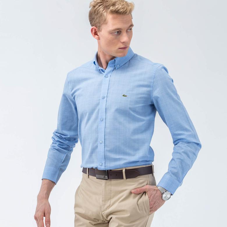 Lacoste Erkek Mavi Slım Fit Uzun Kollu Gömlek