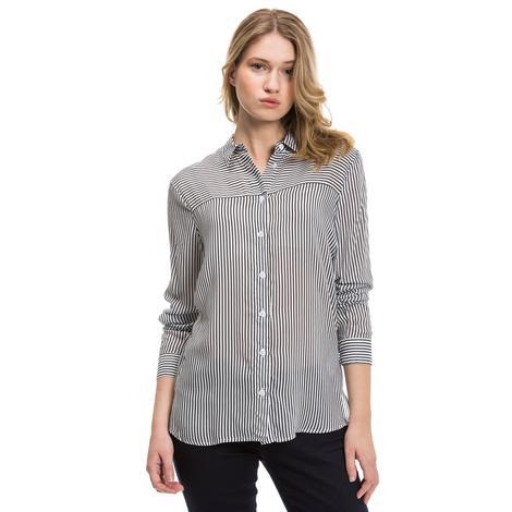 Nautica Kadın Siyah-Beyaz Regular Fit Gömlek