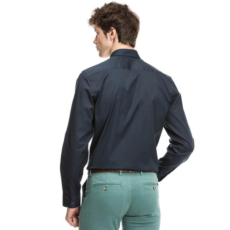 Nautica Erkek Lacivert Uzun Kollu Slim Fit Gömlek