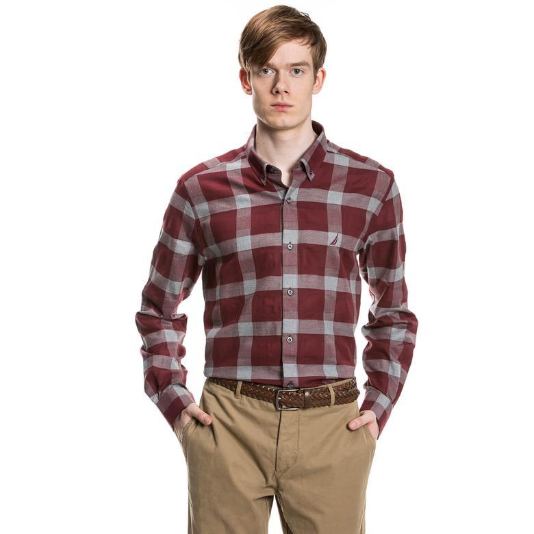 Nautica Bordo Uzun Kollu Kareli Erkek Gömlek