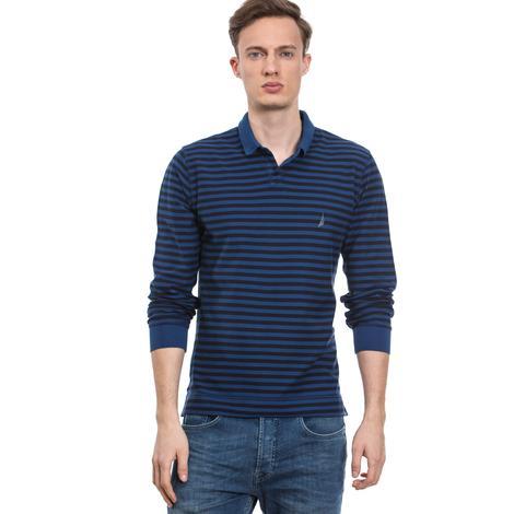 Nautica Erkek Mavi Uzun Kollu Slim Fit Polo