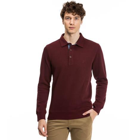 Nautica Erkek Bordo Regular Fit Sweatshirt