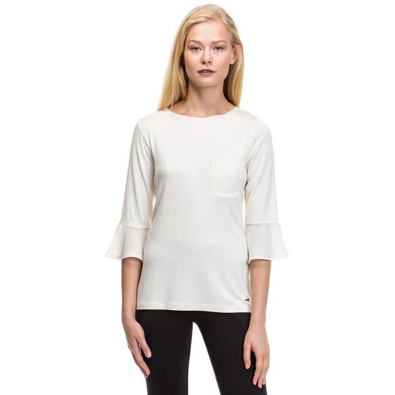 Nautica Kadın Beyaz Uzun Kollu Regular Fit T-Shirt