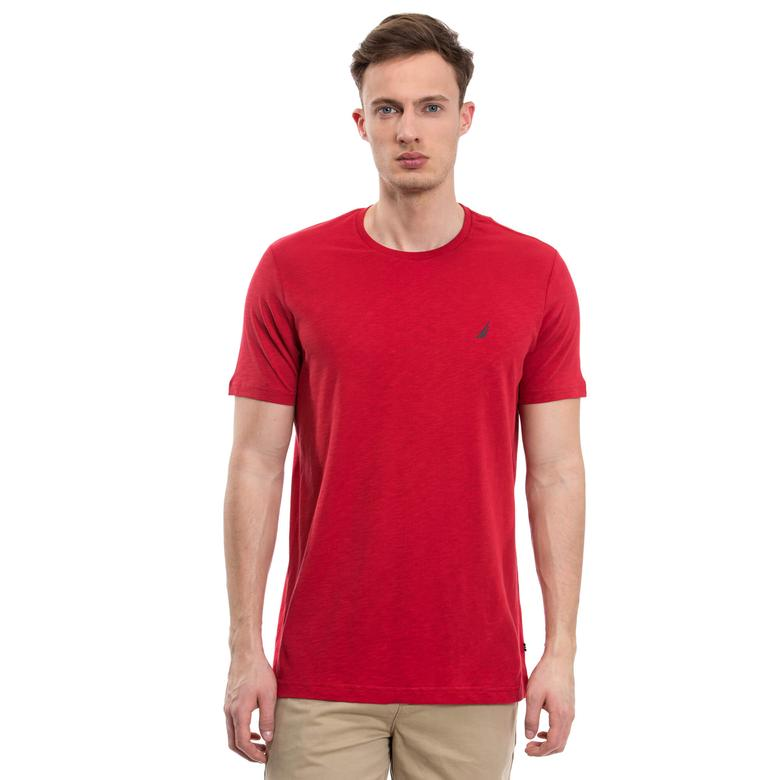 Nautica Erkek Kırmızı Kısa Kollu Bisiklet Yaka Flamlı Slim Fit T-Shirt