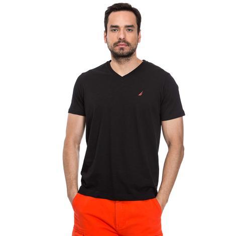 Nautica Erkek Siyah Kısa Kollu V Yaka Flamlı Slim Fit T-Shirt