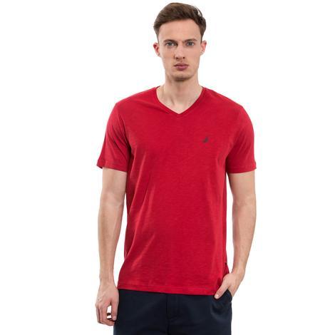 Nautica Erkek Kırmızı Kısa Kollu V Yaka Flamlı Slim Fit T-Shirt