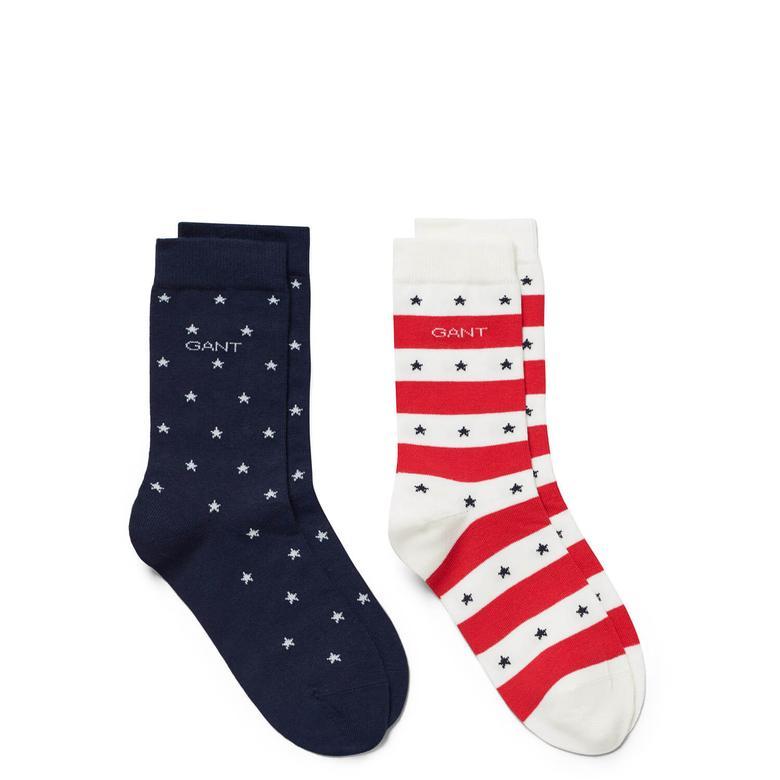 Gant Çocuk Lacivert - Kırmızı 2'li Çorap
