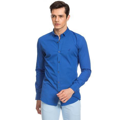 Nautica Erkek Mavi Custom Fit Gömlek