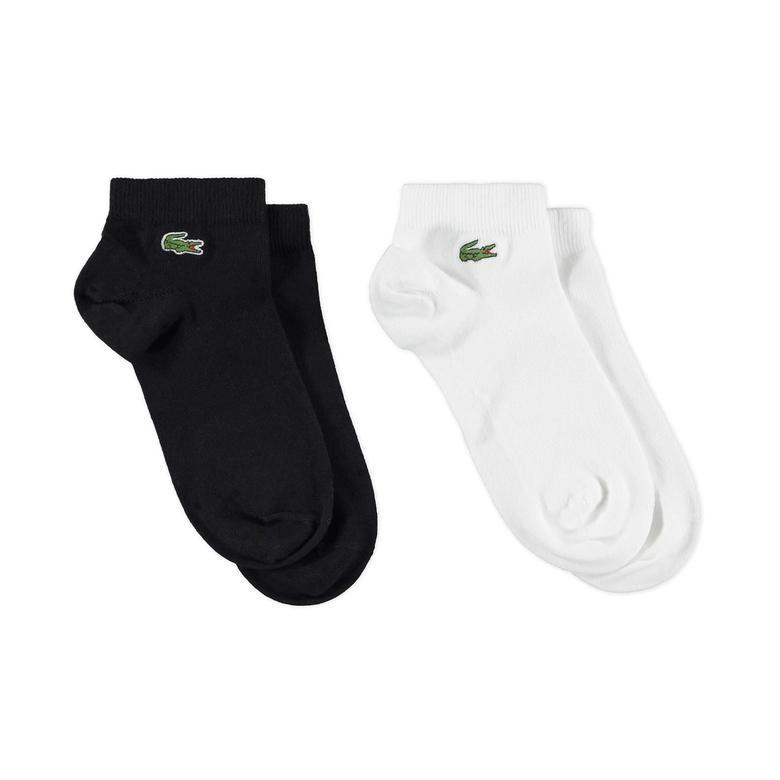 Lacoste Unisex 2'li Siyah Beyaz Çorap