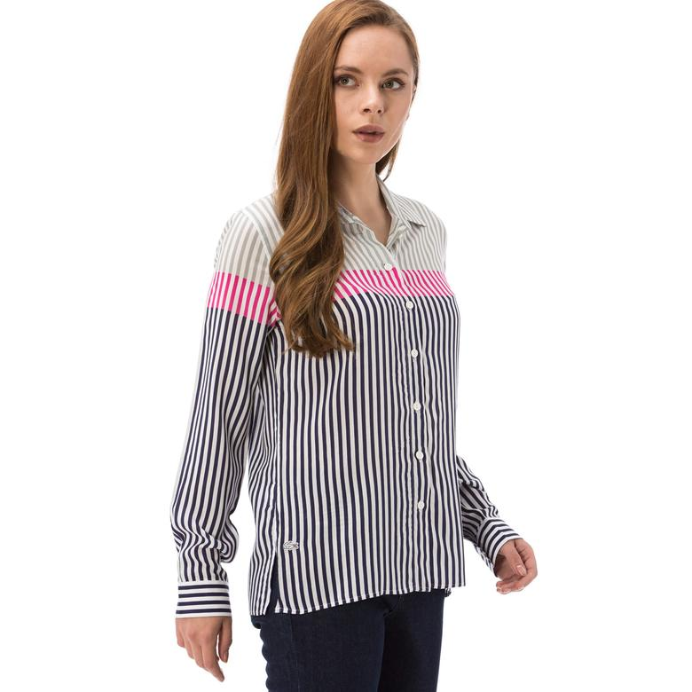 Lacoste Kadın Çizgili Uzun Kollu Gömlek