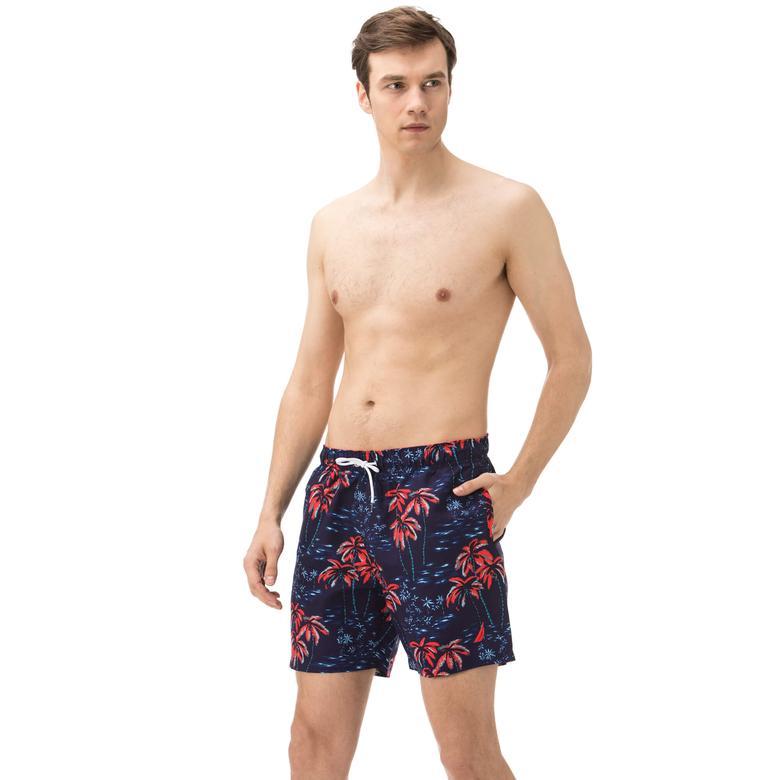 Nautica Erkek Lacivert Desenli Uzun Şort Mayo