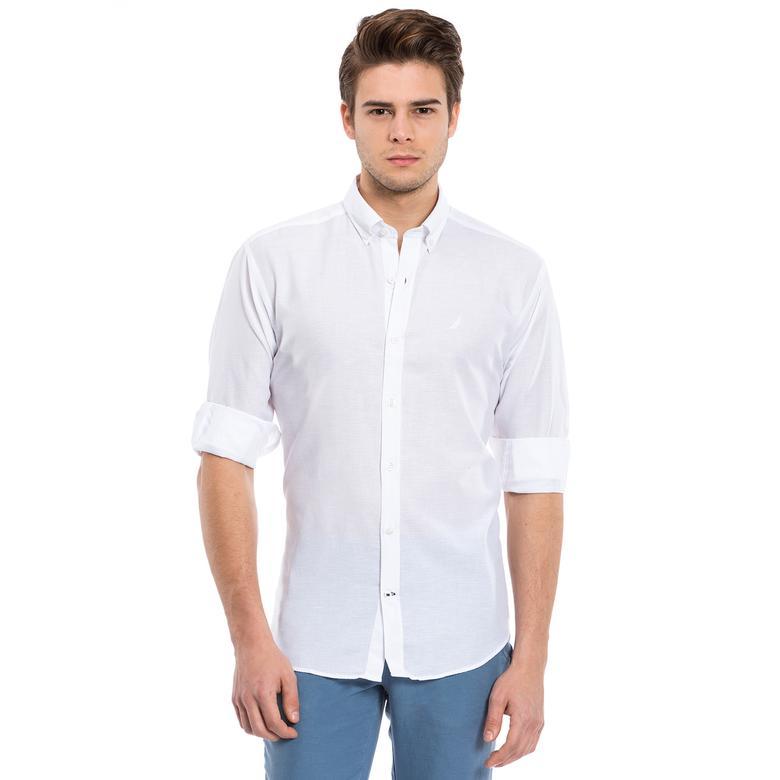 Nautica Erkek Beyaz Uzun Kollu Regular Fit Gömlek