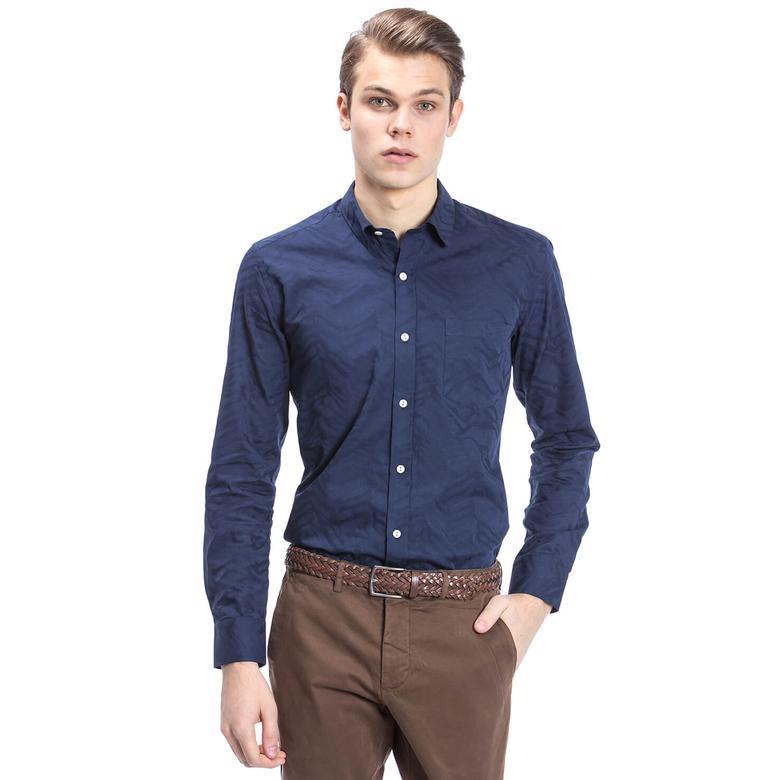 Nautica Erkek Lacivert Uzun Kollu Custom Fit Gömlek