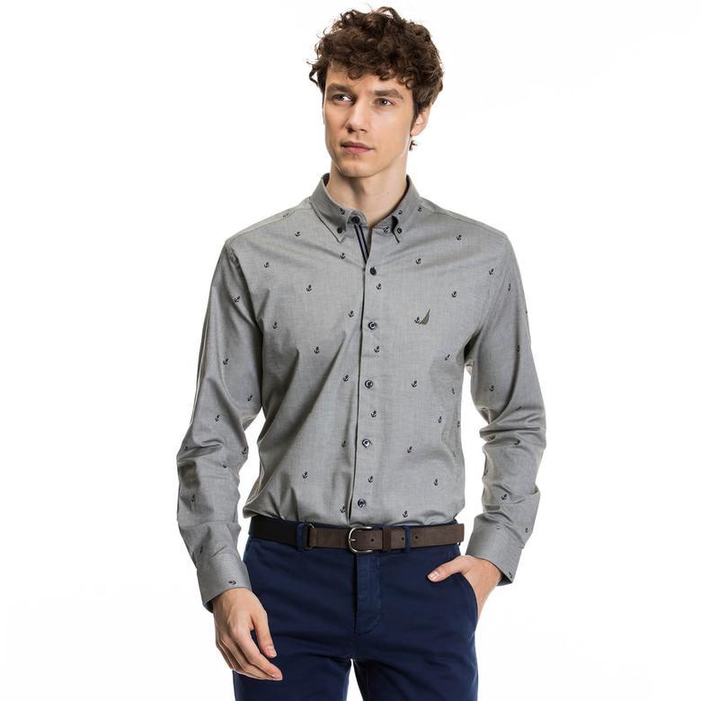 Nautica Erkek Gri Uzun Kollu Slim Fit Gömlek