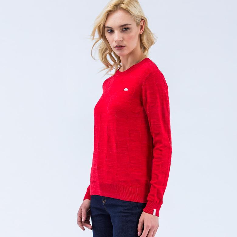 Lacoste Kadın Kırmızı Regular Fit Triko