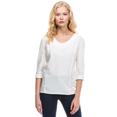 Nautica Kadın Beyaz Uzun Kollu Bluz