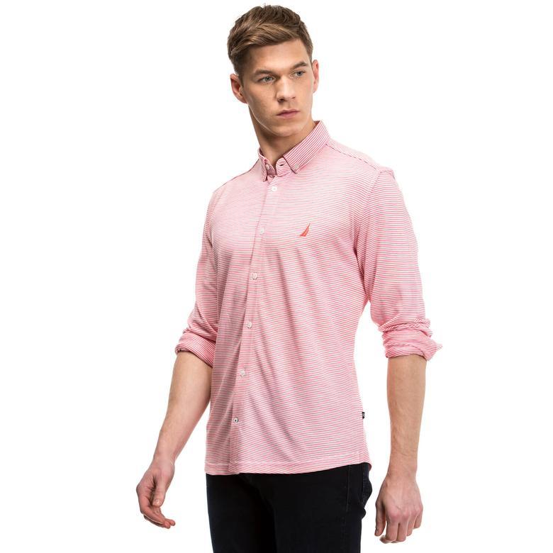 Nautica Erkek Kırmızı Çizgili Slim Fit Gömlek