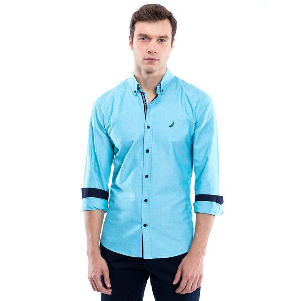 Nautica Erkek Mavi Uzun Kollu Custom Fit Gömlek