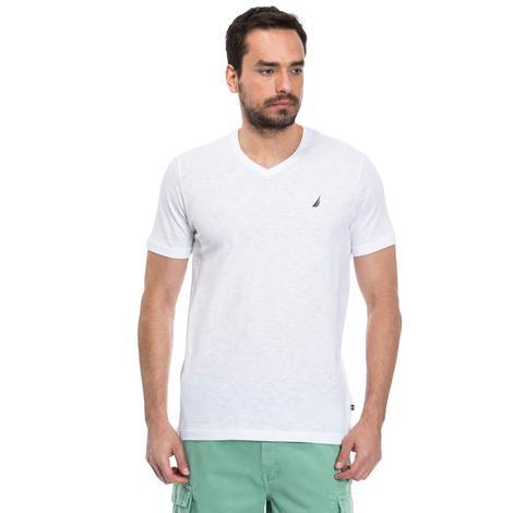 Nautica Flamlı Slim Fit Erkek Beyaz T-Shirt