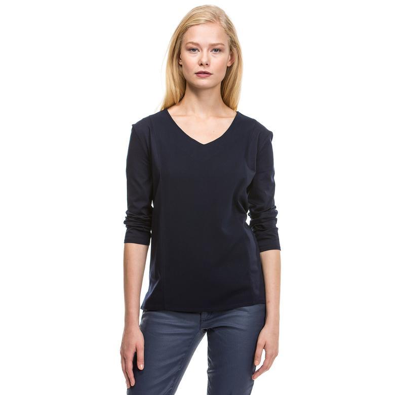 Nautica Kadın Lacivert Uzun Kollu Bluz